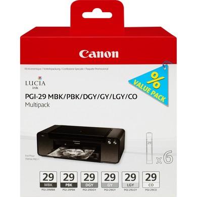 Canon PGI-29 MBK/PBK/DGY/GY/LGY/CO Multipack - Tintenpatrone Original - Schwarz, Matt- / PhotoSchwarz - 36 ml