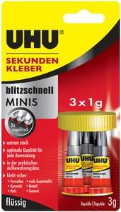 UHU Sekundenkleber blitzschnell MINIS, 3 Tuben à 1 g