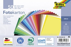 folia Fotokarton, DIN A5, 300 g/qm, 25 Farben sortiert