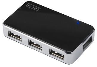 DIGITUS USB 2.0 Mini Hub, 4-Port, silber, inkl. Netzteil